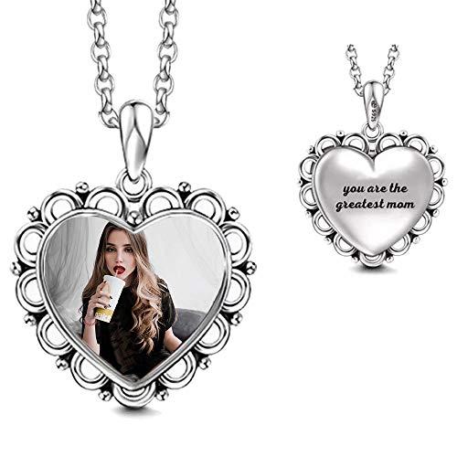 bishihongkuanbaihuod Collar De Mujer 925 Plata En Forma De Corazón Collar De Mujer Personalizado Grabado Foto Y Texto Collar Regalo De Cumpleaños