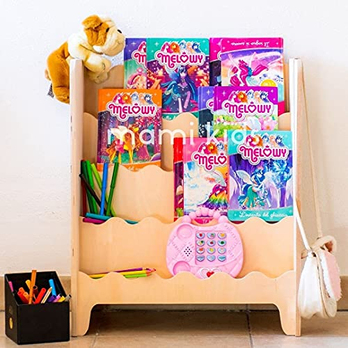 MAMI | Librería Montessori de madera para niños | Dormitorio infantil | Porta libros cómics cuadernos | 100% Made in Italy | 4 estantes | Modelo Pinball