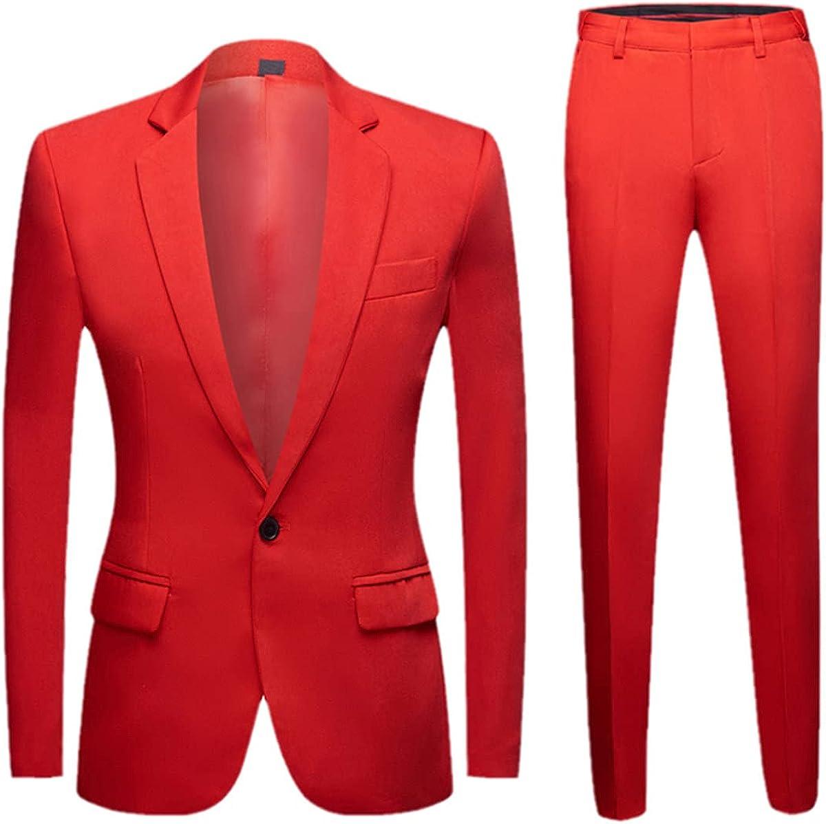 CACLSL Men's Colorful Fashion Wedding Suit XL Yellow Pink Green Blue Purple Suit Jacket Pants 2-Piece Tuxedo