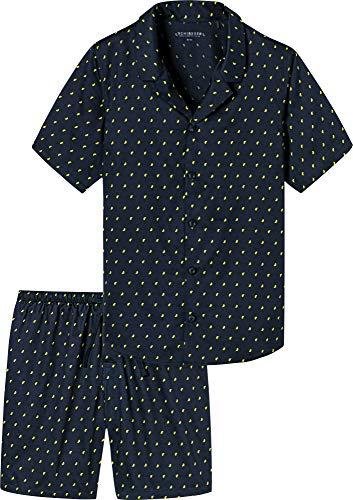 Schiesser Herren Pyjama kurz Zweiteiliger Schlafanzug, Gelb (Zitrone 601), Large (Herstellergröße: 052)