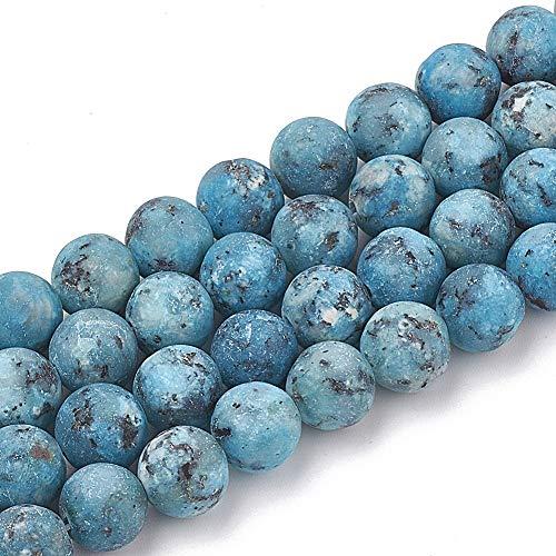 Perlas de piedras preciosas naturales de jaspe azul mate, de 6 mm, redondas, para pulseras de energía de yoga, perlas de piedra, piedras preciosas esmeriladas