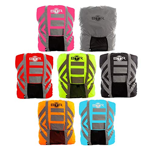 BTR High Visibility Reflective 100% Waterproof Backpack Cover. Best Rucksack Cover for Low Light & Night Time Visibility Backpack Cover is The Only 100% Waterproof Cover You Need. Be SEEN & Keep Dry
