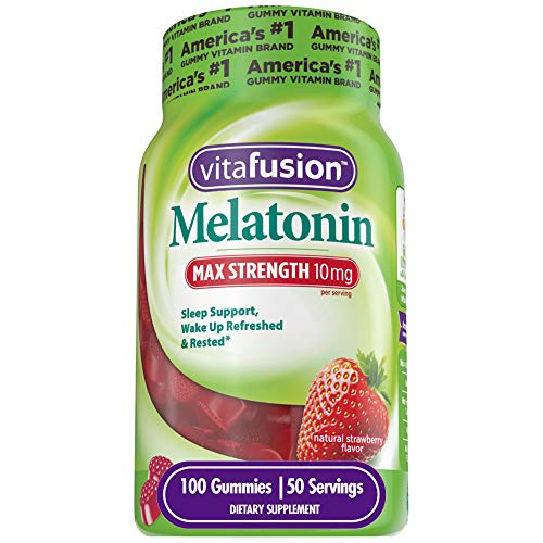 Vitafusion Max Strength Melatonin 10mg, Adult Gummy Vitamins, 100Count, Red, Max Strength (10mg Per Serving)