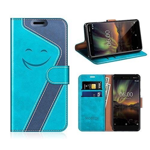MOBESV Smiley Nokia 6 2018 Hülle Leder, Nokia 6.1 Tasche Lederhülle/Wallet Hülle/Ledertasche Handyhülle/Schutzhülle für Nokia 6.1 / Nokia 6 2018, Aqua/Dunkel Blau