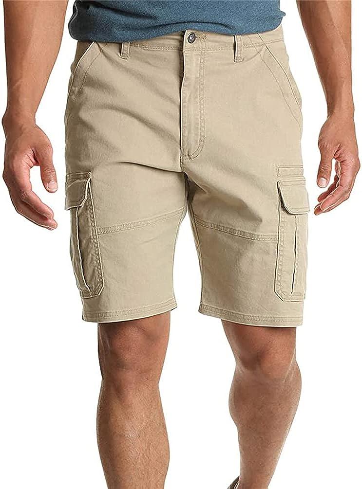 Men's Cotton Cargo Shorts Fit Stretch Multi-Pocket Combat Shorts Outdoor Work Lightweight Casual Chino Beach Shorts (Khaki,XXL)