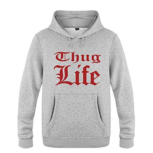 2Pac Kapuzenpullover Hoodie Thug Life Logo Herren Pullover Fleece Tupac Langarm Sweatshirt Rock Rap Musiker Kapuzensweat S-XXL