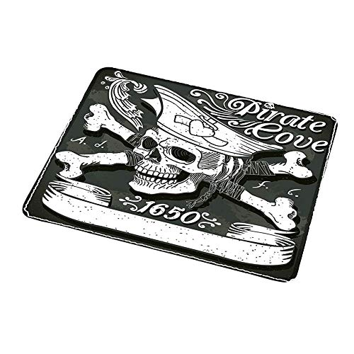 Mousepad Customized Pirate,Pirate Cove Flag Year of 1650 Vintage Frame Crossbones Floral Swirls Hat Heart,Black White Grey 16x30 inch for Magic Mouse