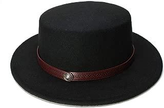 JAUROUXIYUJI New Retro Kid Vintage Wool Wide Brim Cap Pork Pie Porkpie Bowler Hat Solid Coffee Leather Band(54cm/Adjusted) (Color : Black, Size : 54cm)