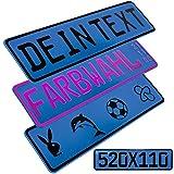L & P Car Design FKZ 1 Stück Fun Kennzeichen 52cm x 11cm Wunschtext Bohrung Beschichtungsfarbe Individuell Wunschkennzeichen Wunschprägung Namenskennzeichen Namensschild Farbe BLAU