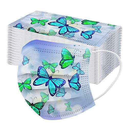 MEIbax Adulto Estampado de Mariposas Protección 3 Capas Bufanda Transpirables con Elástico para Los Oídos Pack 50 Unidades