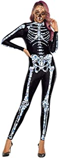 Crystal Skeleton Costumes Scary Halloween Costume for Women Cosplay Bodysuits Elastic Catsuits