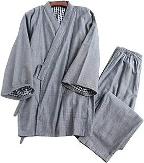 Men's Japanese Style Robes Pure Cotton Kimono Pajamas Suit Dressing Gown Set-#02
