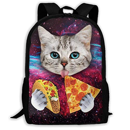 XCNGG Galaxy Cat Pizza Printed Travel Backpack,Waterproof Lightweight Laptopbag Have Two Side Pockets