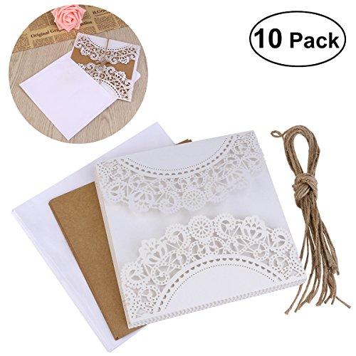 UEETEK 10Pcs hohlen dekorative Hochzeitseinladung Grusskarte mit Spitze Umschlag für Hochzeit Geburtstag Verlobung Party