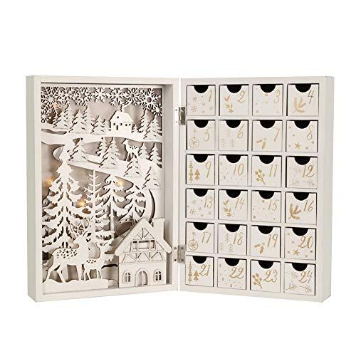 Christmas Advent Calendar 木製アドベントカレンダーブッククリスマスカレンダーには、クリスマスまでの24の引き出しカウントダウンがあります (White with LED Lights)