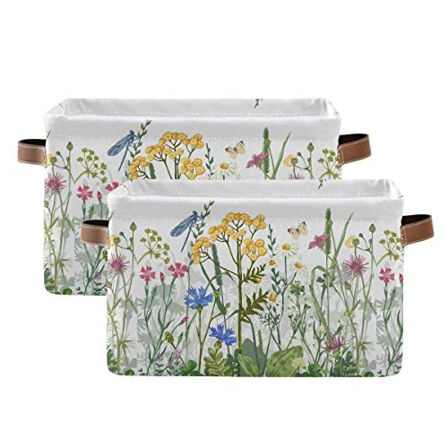 KEEPREAL Colorful Herbs and Flowers Storage BasketsDecorative Collapsible Rectangular Canvas Fabric Storage Bin for Home 2PACK