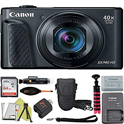Canon PowerShot SX740 HS Digital Camera (Black) with Sandisk 32GB Card + ZeeTech Accessory Kit from Canon (ZT)
