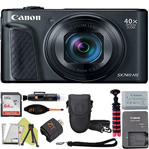 Canon PowerShot SX740 HS Digital Camera (Black) with Sandisk 64GB Card + ZeeTech Accessory Kit (Advanced Bundle)