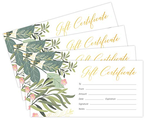 Blank Gift Certificates for Business with Gold Foil- 25 Gift Certificate Cards with Envelopes for Spa, Salon, Restaurants, Custom Client Vouchers for Birthday, Work Gift Card – 3.7x7.5