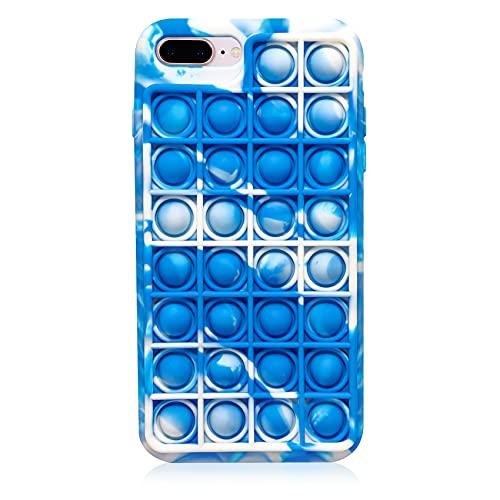Push Pop Bubble Toy Case for iPhone 7Plus/8Plus, CCOZN Fidget Block Toys Bubble Wrap Silicone Phone Case Push Pop Stress Reliever Silicone Case for iPhone 7Plus/iPhone 8Plus, 5.5in (Gradient Blue)