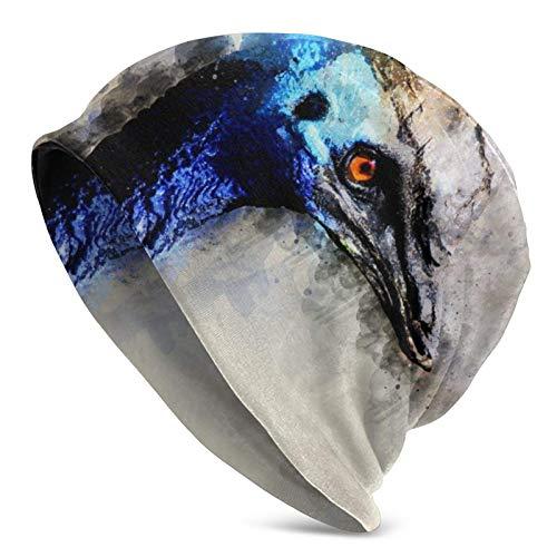 QUEMIN Baratos Acuarela Pájaro Azul Pintura de Mariposas Arte Gorro de Calavera Gorro elástico Gorras holgadas Sombreros de Moda de Punto de Invierno para Mujeres Hombres