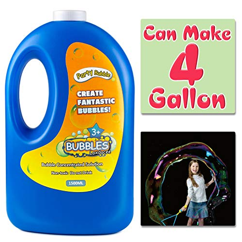 Bubble Solution Refill(Can Make 4 Gallon), Concentrated Bubble Soap 54 Ounce Big Bottle for Jumbo Giant Bubble Wand Blower Machine Gun Maker, Bath Time, Summer Outdoor Gift for Girl Boy Kid Child
