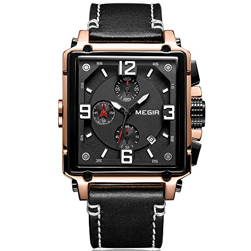 MEGIR Square Dial Watches Men Chronograph Quartz Watch for Man Casual Leather Strap Military Sport...