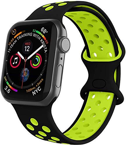 VIKATech Compatible Cinturino per Apple Watch Cinturino 44mm 42mm, Due Colori Morbido Silicone Traspirante Cinturini Sportiva di Ricambio per iWatch Series 5/4/3/2/1, S/M, Nero/Volt