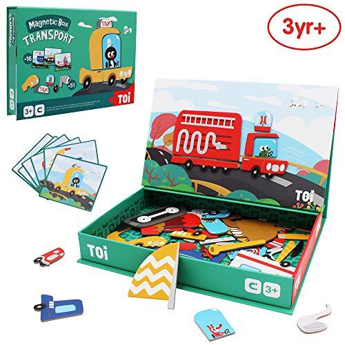 ANIKI TOYS Magnetische puzzel Activiteitenboek 3-7 jaar Educatief spel Jigsaw Toy - Transport
