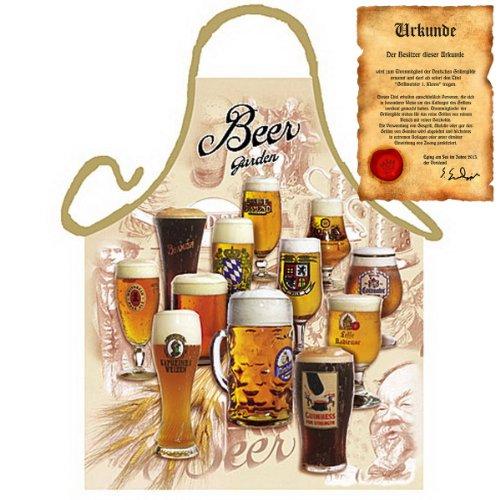 Grillschürze Beer Garden Grill Koch Küchenschürze Schürze Bier Set geil bedruckt mit GRATIS Griller Urkunde