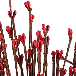 baosity 40 pieces artificial pip berry garland primitive pip berry wire rope garland holly berry branches diy wreath christmas holiday decor 65cm/25.6inch – red silk flower arrangements
