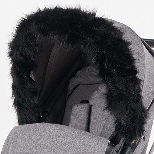For-Your-Little-One aFHACWB-B163 Pram Fur Hood Trim Compatible On Bumbleride, Noir