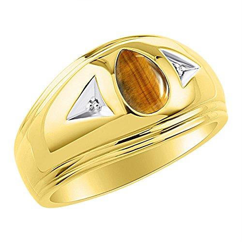 Para hombre de ojo de tigre y diamante anillo 14K oro amarillo banda