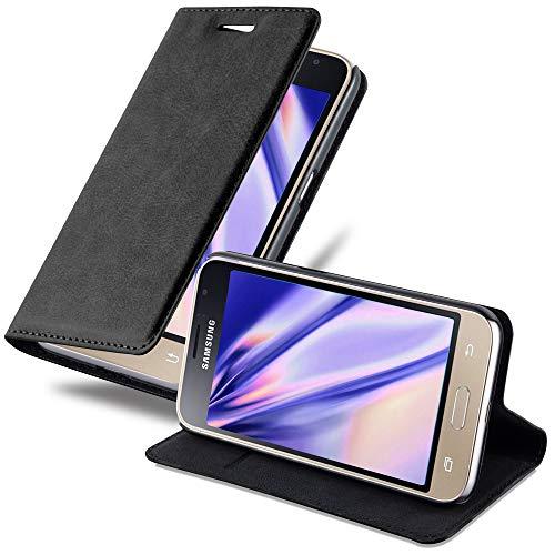 Cadorabo Custodia Libro per Samsung Galaxy J1 2016 in Nero di Notte - con Vani di Carte, Funzione Stand e Chiusura Magnetica - Portafoglio Cover Case Wallet Book Etui Protezione