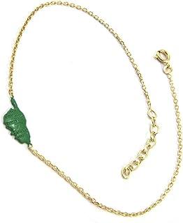 Altesse P2607 - Placcato oro catena perno 'Corsica' verde scuro dorato (corse)- 15x7 mm.