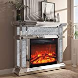 ENENE Mirrored Electric Fireplace, Fireplace Mantel Freestanding Heater Firebox with Remote Control, 3D Flame, 750/1500W