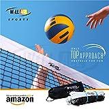 WILLAGE Volleyball net, Volleyball Net Nylon, Black Heavy Duty Machine Made Nylon Volleyball Net (4 Side Tetron Tape)