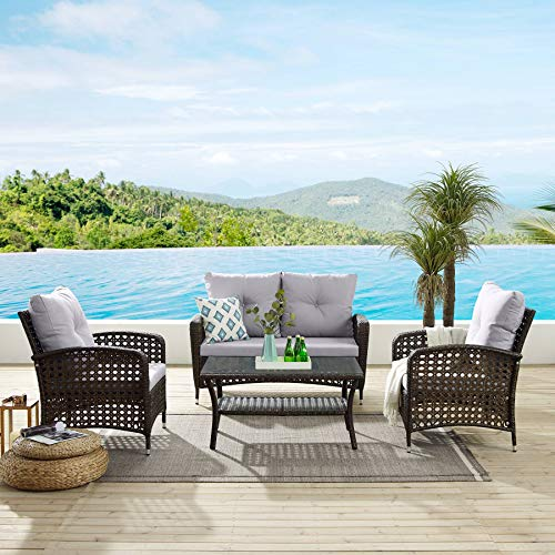 Tribesigns 4 PCS Patio Furniture Sets, Outdoor PE Wicker Rattan Patio Sofa Conversation Set with Tea Table and Washable Couch Cushions for Garden, Backyard, Poolside, Balcon (Brown + Light Gray)