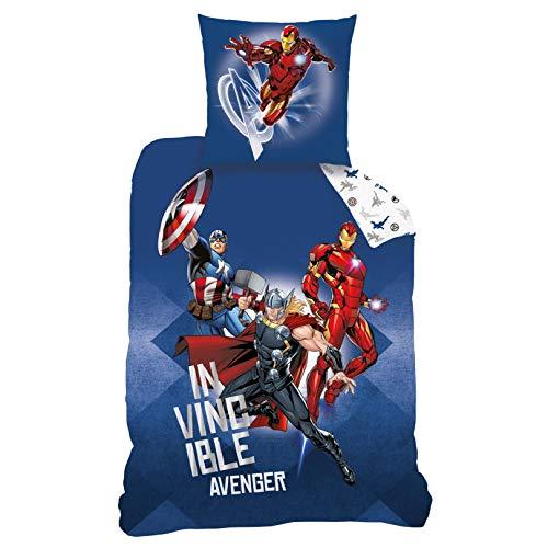 CTI Avengers Bettwäsche Bettbezug 135x200 80x80 Baumwolle · Kinderbettwäsche für Jungen Marvel Avenger Heroes · 2 teilig · 1 Kissenbezug 80x80 + 1 Bettbezug 135x200 cm