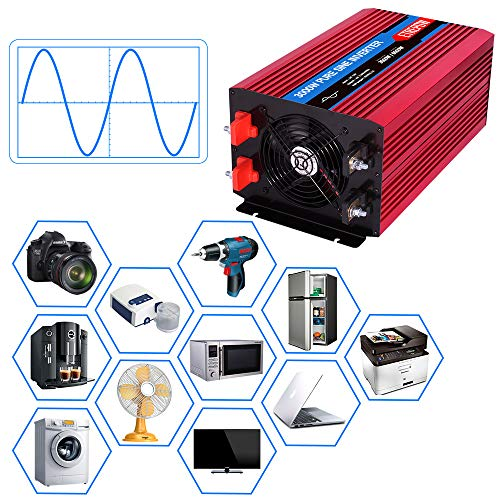 ETREPOW 3000 Watt Pure Sine Wave Power Inverter 12V to 110V 120V with LCD Display,Wireless Remote Control,4 AC Sockets, 2.1A USB Port, Dual Fans - Off Grid Inverter 6000 Watt Peak for RV Truck Car