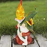 Wowlela Statue de Nain de Jardin Solaire - Figurine de Nain de Jardin en résine avec lumières LED solaires Mini Gnomes Figurines de Dessin animé Décorations extérieures pour Porche de pelouse