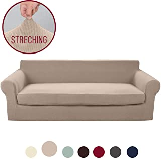 Vailge 2-Piece High Stretch Jacquard Large Sofa Slipcover, Durable Oversize Sofa Cover with Separate Cushion Cover, Machine Washable Couch Covers/Slipcover for Dogs,Kids,Pets(XL Sofa:Sand)