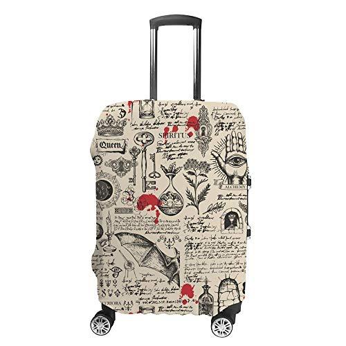 Gepäckabdeckung, verdickt, waschbar, Zeitung, magische Mystik, Skizzen, Polyester, Faser, elastisch, faltbar, leicht, Reisekoffer-Schutz