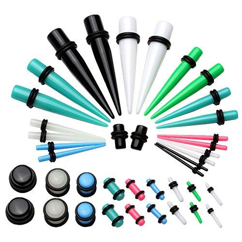 JSDDE Piercing,40x Set Acryl Piercing Set Bunt Taper Dehnstab Flesh Ohr Plugs Mixed Farbe Expander Kit Ohrpiercing,1.6-12MM
