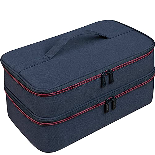 ButterFox Large Nail Polish Storage Organizer Holder Carrying Case Bag, Fits 40-50 Bottles (0.5 fl oz - 0.3 fl oz), Pockets for Manicure Accessories (Black/Red)