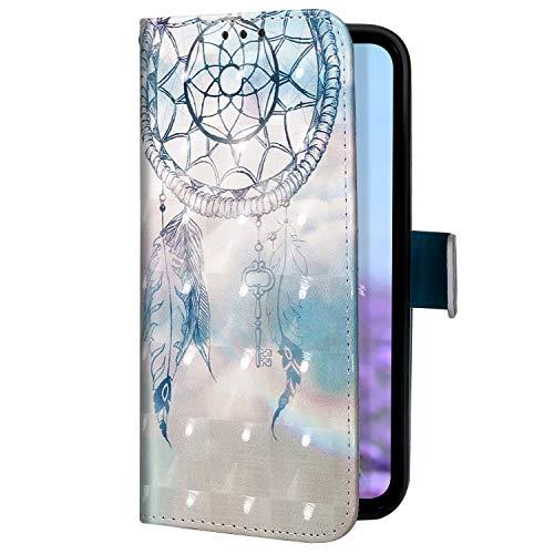 Uposao Kompatibel mit Samsung Galaxy S10 5G Handyhülle Glitzer Bling 3D Bunt Leder Hülle Flip Schutzhülle Handytasche Brieftasche Wallet Bookstyle Case Magnet Ständer Kartenfach,Dreamcatcher