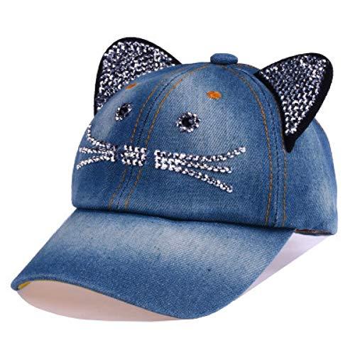 Baseballmütze Kappe Hut Cap Kawaii Cat Baseball Cap Für Mädchen Casual Bone Jeans Chapeau Mit Strass Sonnenhüten