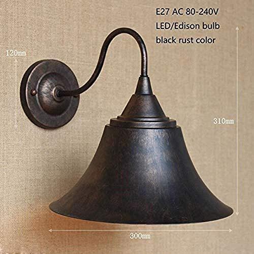 Meixian Wandlamp voor binnen, retro vintage loft, roestbruin, metalen lampenkap voor bar, badkamer, werkkamer, slaapkamer, eetkamer, wastafellampen, E27 B, eenvoudig retro