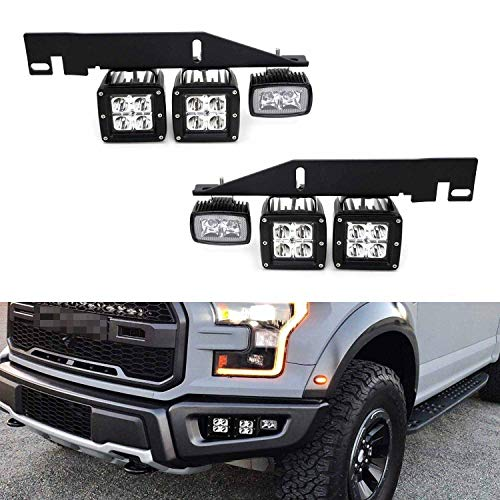 iJDMTOY LED Pod Light Fog Lamp Kit Compatible With 2017-up Ford Raptor, Includes (4) 20W (2) 10W CREE LED Cubes, Foglight Location Mounting Brackets & On/Off Switch Wiring Kit