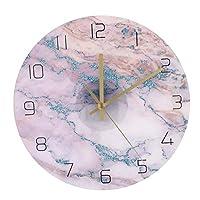 大理石の装飾的なガラスの壁時計非カチカチ音をたてる古典的なデジタル時計居間の台所の装飾のために作動する大理石の壁時計バッテリー